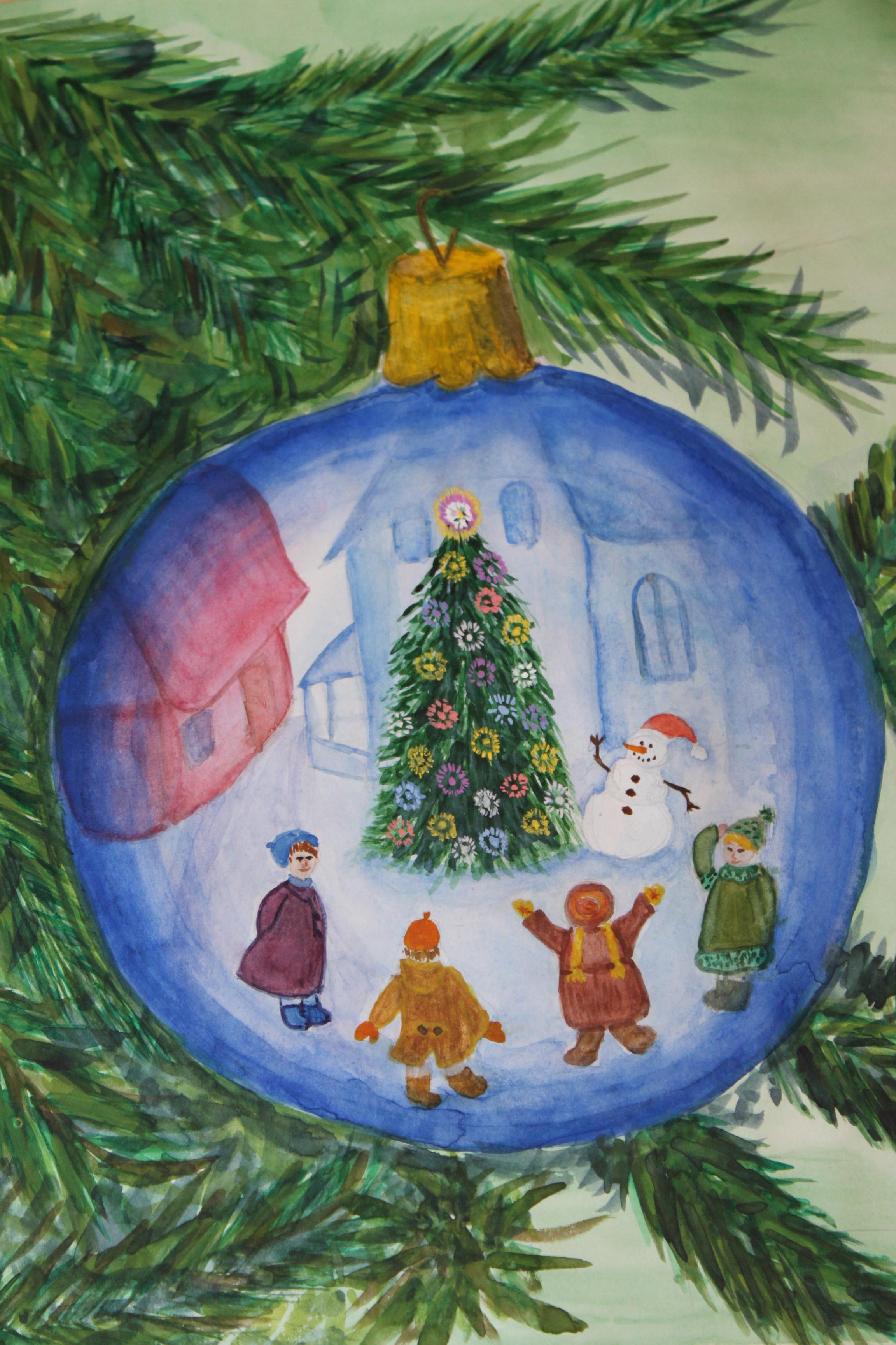 Рисовать новогоднюю картинку 11 лет