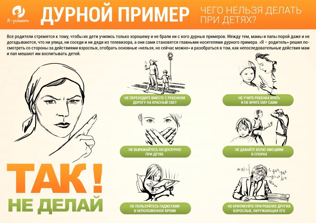 Инфографика Дурной пример. Чего нельзя делать при детях?